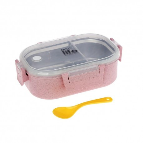 FOOD CONTAINERS WITH PARTITION 900ML (PINK COLOR)