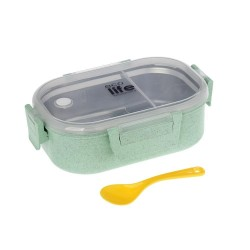 FOOD CONTAINERS WITH PARTITION 900ML (GREEN COLOR)